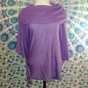 Purple loose cowl neck/slouchy knit tunic sweater